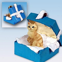 Red Tabby Manx Gift Box Blue Ornament