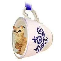 Red Tabby Manx Tea Cup Blue Ornament