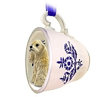 Cocker Spaniel Blonde Tea Cup Blue Ornament