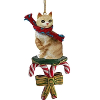 Red Tabby Manx Candy Cane Ornament