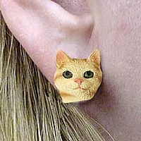 Red Tabby Manx Earrings Post