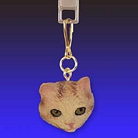 Red Tabby Manx Zipper Charm
