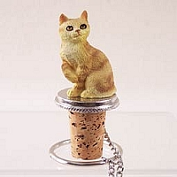 Red Tabby Manx Bottle Stopper