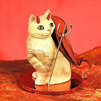Red Tabby Manx Devilish Pet Figurine