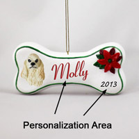 Cocker Spaniel Blonde Bone Ornament (Personalize-It-Yourself)
