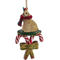 Cocker Spaniel Blonde Candy Cane Ornament
