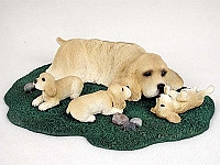 Cocker Spaniel Blonde Mom & Pups Figurine
