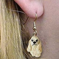 Cocker Spaniel Blonde Earrings Hanging