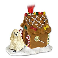 Cocker Spaniel Blonde Ginger Bread House Ornament