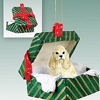 Cocker Spaniel Blonde Gift Box Green Ornament