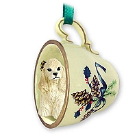 Cocker Spaniel Blonde Tea Cup Green Holiday Ornament