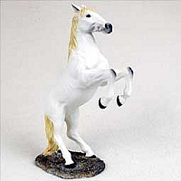 White Horse Rearing Figurine