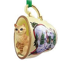 Red Tabby Manx Tea Cup Snowman Holiday Ornament