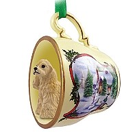 Cocker Spaniel Blonde Tea Cup Snowman Holiday Ornament