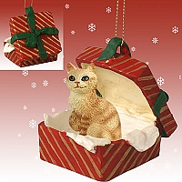 Red Tabby Manx Gift Box Red Ornament
