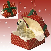 Cocker Spaniel Blonde Gift Box Red Ornament