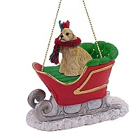 Cocker Spaniel Blonde Sleigh Ride Ornament