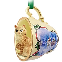 Red Tabby Manx Tea Cup Sleigh Ride Holiday Ornament