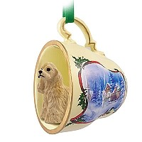Cocker Spaniel Blonde Tea Cup Sleigh Ride Holiday Ornament