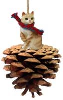 Red Tabby Manx Pinecone Pet Ornament