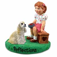 Cocker Spaniel Blonde Reflections w/Girl Figurine