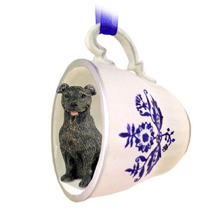 Staffordshire Bull Terrier Brindle Tea Cup Blue Ornament