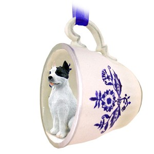 Pit Bull Terrier White Tea Cup Blue Ornament