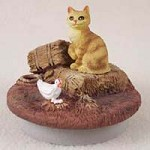 "Red Tabby Manx Cat Candle Topper Tiny One ""A Day on the Farm"""