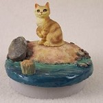 "Red Tabby Manx Cat Candle Topper Tiny One ""A Day at the Beach"""