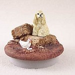 "Cocker Spaniel Blonde Candle Topper Tiny One ""A Day on the Farm"""