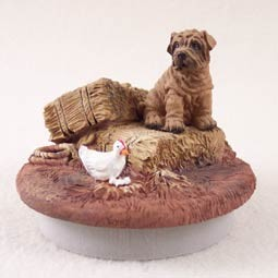 "Shar Pei Brown Candle Topper Tiny One ""A Day on the Farm"""