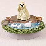 "Cocker Spaniel Blonde Candle Topper Tiny One ""A Day on the Lake"""