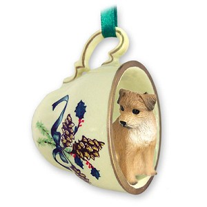 Border Terrier Tea Cup Green Holiday Ornament