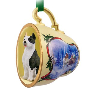 Pit Bull Terrier Brindle Tea Cup Sleigh Ride Holiday Ornament
