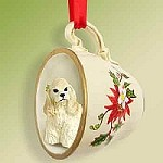 Cocker Spaniel Blonde Tea Cup Red Holiday Ornament