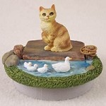 "Red Manx Candle Topper Tiny One ""A Day on the Lake"""