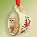Red Tabby Manx Tea Cup Red Holiday Ornament
